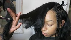 How to install a DEEP SIDE PART BOB SEW IN (GRADUATED CUT) FULL SEW IN | @mizmakeme