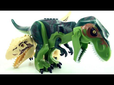 Green Tyrannosaurus Rex - Lego compatible Jurassic World Dinosaurs - T-Rex Indominus Rex
