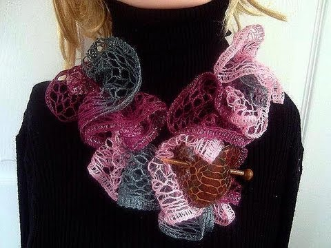 Crochet Scarf Pattern With Sashay Yarn : SASHAY SCARF, how to use Sashay yarn to crochet a ruffled ...