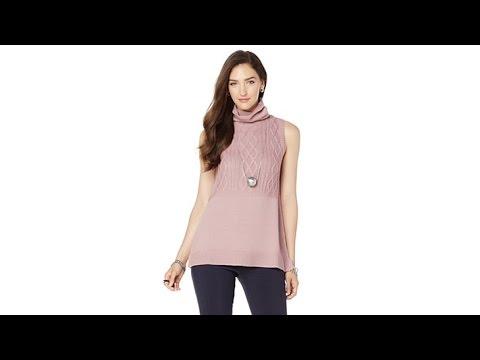 9bb8141ef4581 MarlaWynne Cable Knit Sleeveless Turtleneck - YouTube