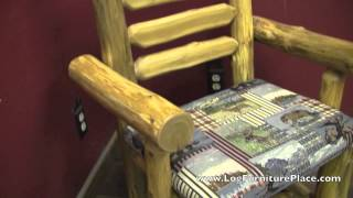 Cedar Lake Upholstered Side & Arm Log Dining Chairs From Logfurnitureplace.com
