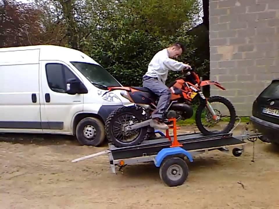 Remorque moto pour enduro youtube - Remorque de jardin pour autoportee ...