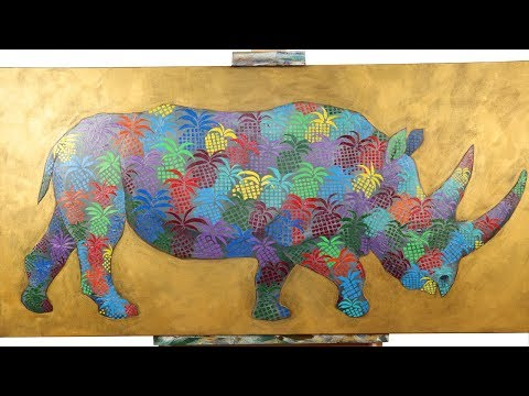 Patterned Rhinoceros Painting