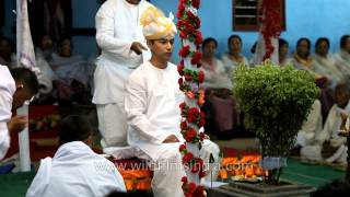 Manipuri groom enter wedding mandap