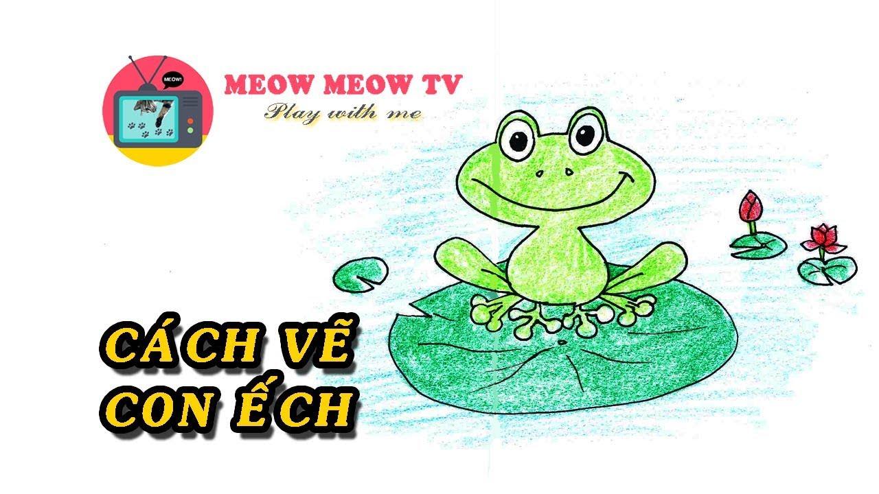 [MEOW MEOW TV] Vẽ con ếch ngồi trên lá – 개구리 그리기