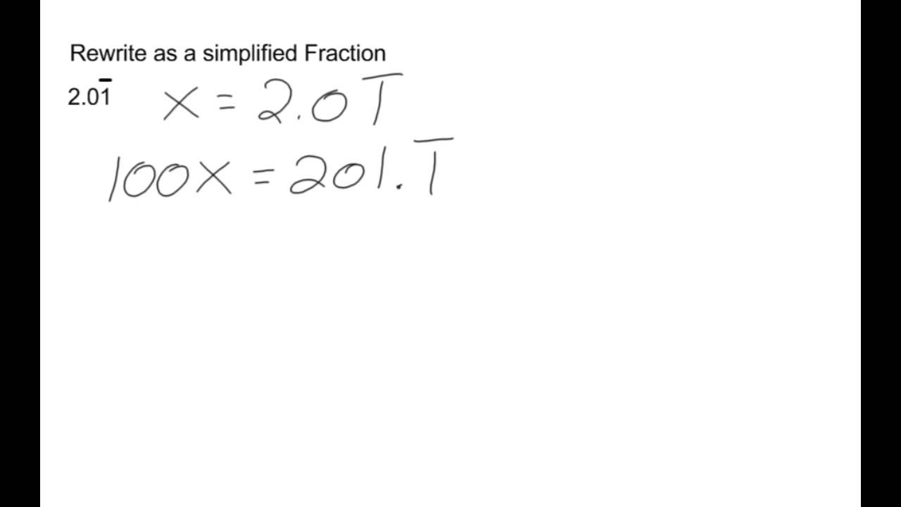 Worksheet How Do You Change A Decimal To A Fraction converting 1 digit repeating decimals to fractions youtube fractions