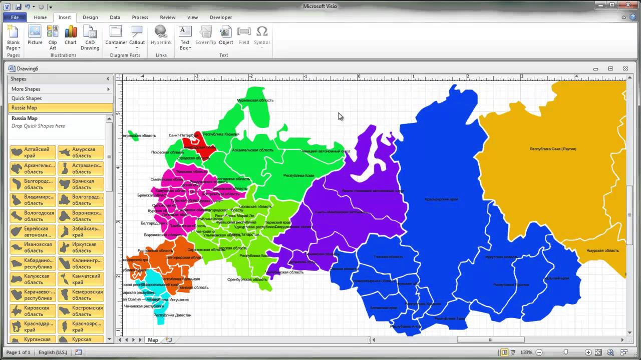 Working With Visio Map Of Russia