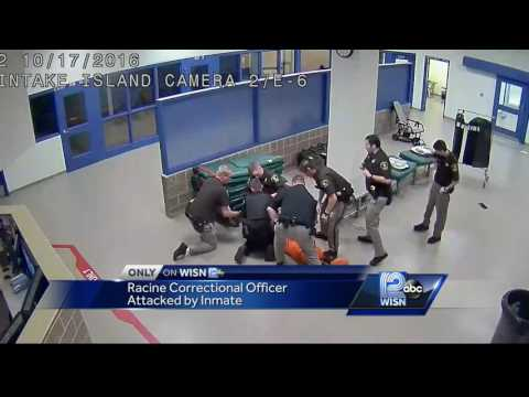 Surveillance video shows Racine County Corrections officer being attacked