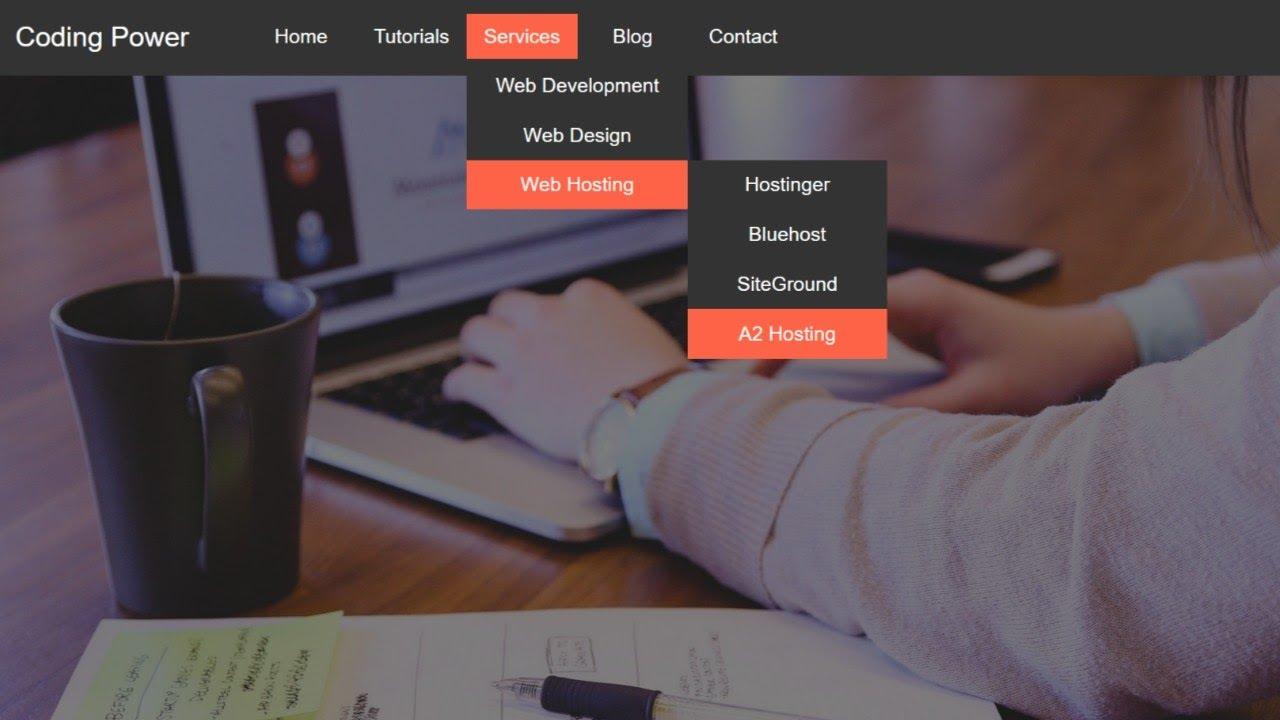 Drop Down Menu using HTML and CS |How to Make Drop Down Menu Using HTML & CSS|Coding Power
