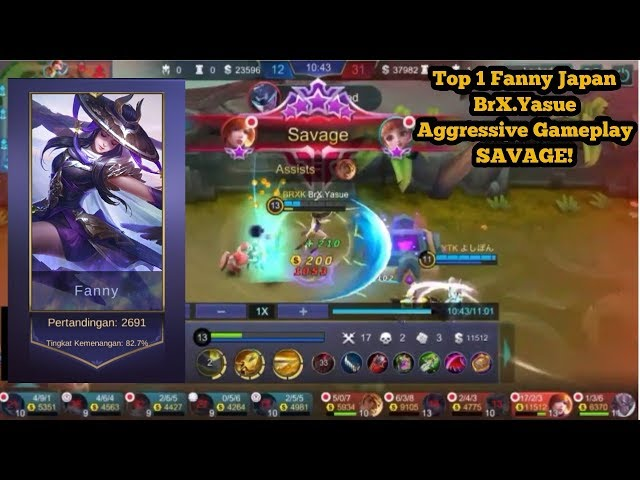 Top 1 Fanny Japan BrX Yasue Aggressive Gameplay Savage! Top 4 Global Fanny