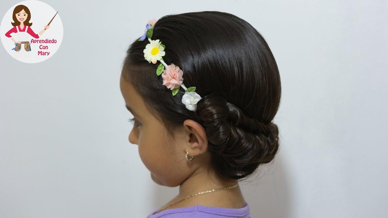 Peinado con diadema de flores f cil y rapido youtube - Diademas de flores para nina ...