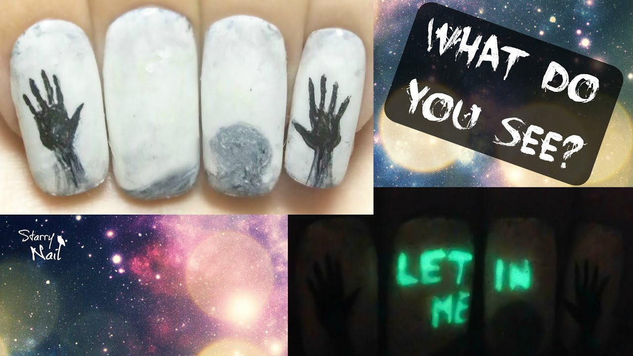 Invisible Creepy Message Glow In The Dark Halloween Freehand Nail