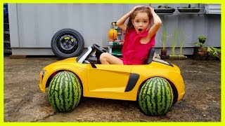 Kids Repair Сar and Change the Wheels POWER WHEEL Ride On AUDI R8 SPYDER