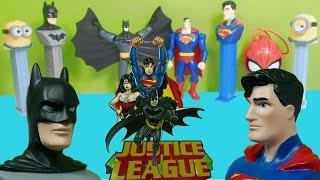 Batman v Superman : Justice League Minions PEZ Spider-Man TOYS Unboxing