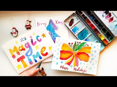 Festive Watercolor Christmas Card Painting Ideas - DIY Handmade Xmas Gifts