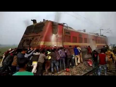 PUSHING A BURNED INDIAN LOCOMOTIVE (WAP 4)... OF MAGADH EXPRESS (2402D)