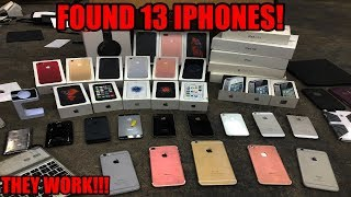 FOUND 13 IPHONES DUMPSTER DIVING! BIGGEST APPLE STORE DUMPSTER DIVE EVER! THE IPHONES WORK!!!