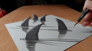 How to Draw 3D Sharks - Drawing Shark with Charcoal & Markers - Trick Art on Paper - Vamos