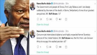 Top condolences from PREZ. NANA AKUFO ADDO and the world to Kofi Annan's family