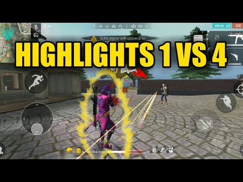 Free Fire Highlights 1 Vs 4 !!! | Solo Vs Squad Highlights Free Fire !!!