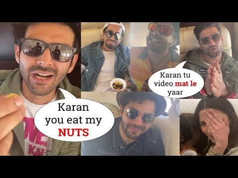 Karan Johar Toodles MASTI With Ranveer Singh, Kartik Aryan, Alia In Flight At Filmfare Awards 2020