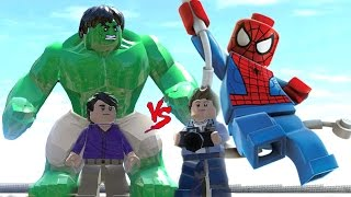 hulk transformation vs amazing spider man lego marvel super heroes battle