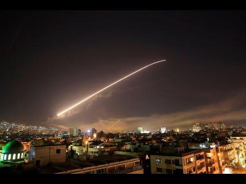 Ракетные удары по Сирии Дамаск Работа ПВО (Трамп отдал приказ нанести удар по Сирии)