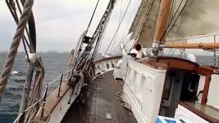 SV Irving Johnson sailing on a windy day