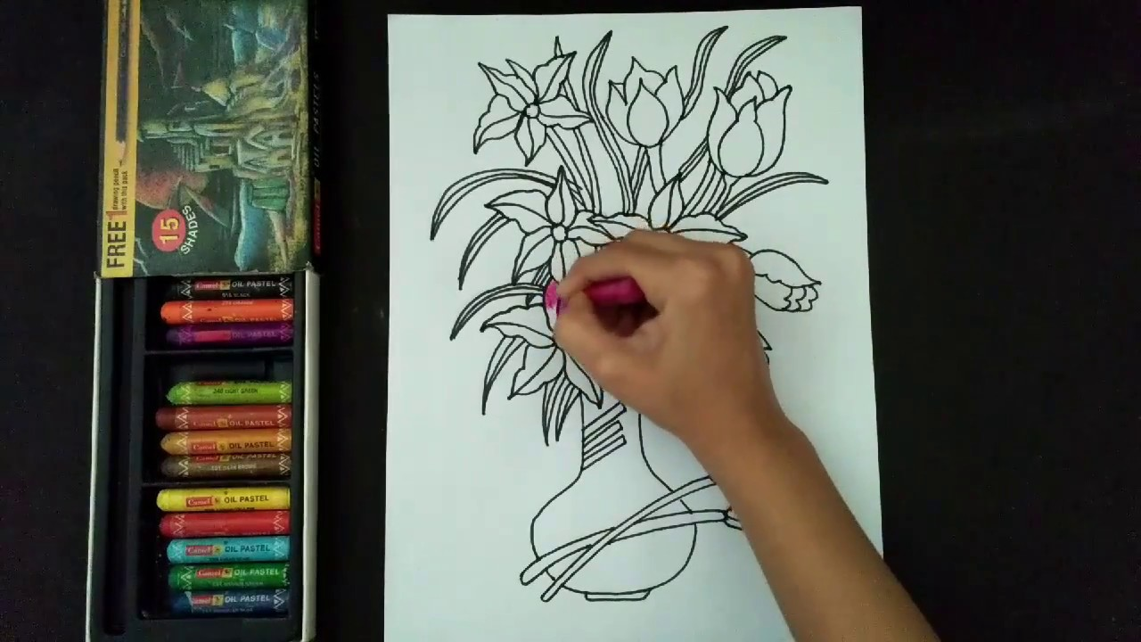 How to draw and colour a beautiful flower pot flower pot drawing