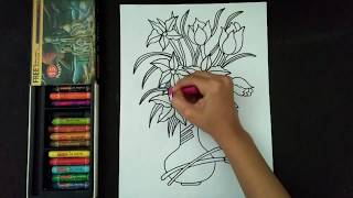 How to draw and colour a beautiful flower pot | flower pot drawing