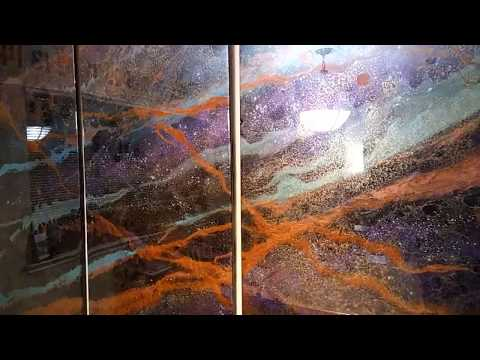 "HUGE Resin Art - 76""x48"" Triptych - Houston TX"