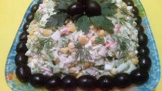 Салат из крабовых палочек, капусты и кукурузы