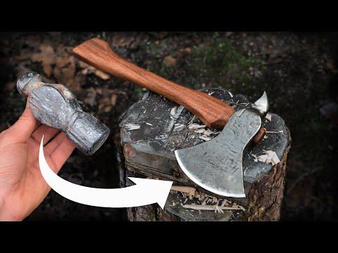 Hatchet Forged From Ball Peen Hammer   Blacksmithing