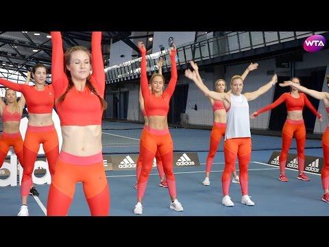 Angelique Kerber, Simona Halep, Garbine Muguruza Workout With Adidas at Australian Open