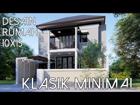 REMAKE Desain rumah klasik minimal 10x15 m [kode 055B]
