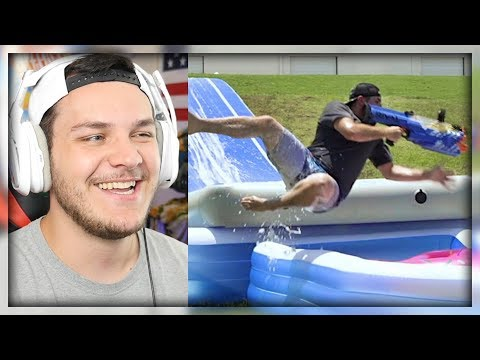 Nerf Slip and Slide Battle | Dude Perfect – Reaction