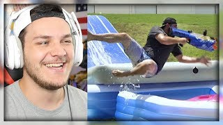 Video Nerf Slip and Slide Battle | Dude Perfect - Reaction download MP3, 3GP, MP4, WEBM, AVI, FLV Oktober 2018