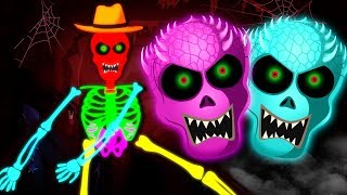 Fun Glowing Color Skeletons Dancing - Midnight Fun With Skeletons Finger Family and More Songs