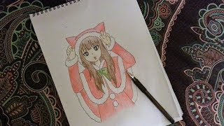 How to draw a cute anime girl in a cat Santa costume! - Christmas Edition! - Easy & Quick!- DiyaCake