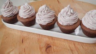 Chocolate Cupcake With Blueberry Frosting  Newly Weds Recipes  Sanjeev Kapoor Khazana