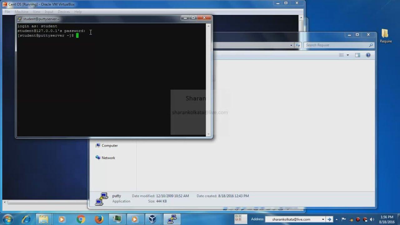 Putty SSH Client & CentOS installation and config to access CentOS terminal  via putty   Virtual Box by Sharan Sasindran