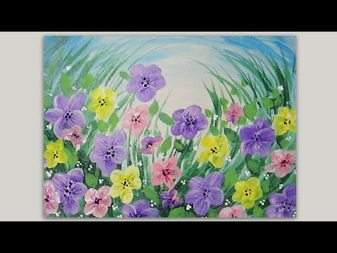Spring flowers acrylic painting lovespringart youtube for Spring canvas paintings