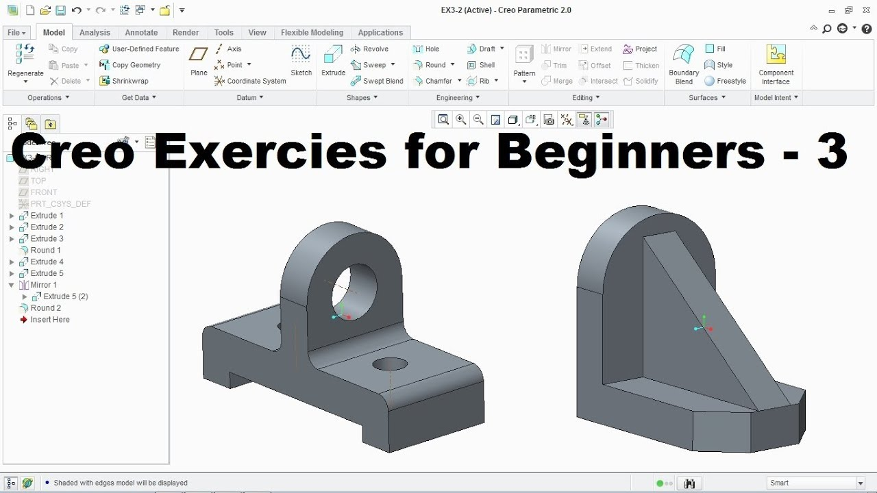 Creo Modeling Exercises Tutorial for Beginners | Creo Practice Exercises - 3