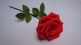 Cómo hacer Rosa de papel crepe (Hermosa) - Rosas con una tira de papel