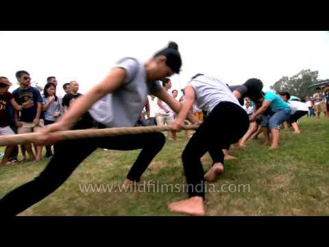 Giving full strength in tug-o-war : 50th Naga Fest