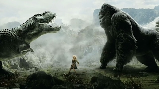 King Kong vs T-Rexes - Fight Scene (REVERSE) - Movie CLIP