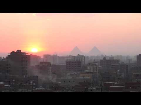 Sunset over the Pyramids, Giza, 5-11-2011.MOV