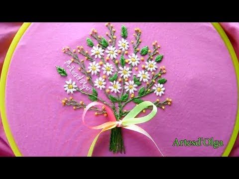 Hand Embroidery: Daisy Flower Bouquet | Bordados a mano: Bouquet de Margaritas | Artesd'Olga