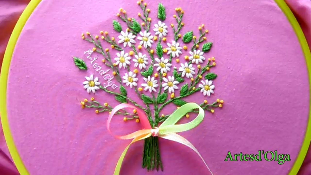 Hand Embroidery: Daisy Flower Bouquet | Bordados a mano: Bouquet de ...