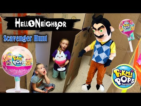 Hello Neighbor in Real Life!!! Pikmi Pops Scavenger Hunt Game in Huge Box Fort Maze!